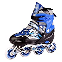 Adjustable inline skates shoes with adjustable length. Be different with the high quality, printed, vibrantgraphic decals Soft boot support system with triple cam lever buckle, push button adjustment system and comfort fit padding Lightweight: Perfec...