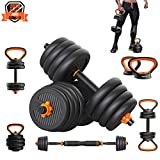 PINROYAL Weights Dumbbells Set - Adjustable Dumbbells Set 44 Lbs Barbell Weight Set with Connecting Rod - Exercise & Fitness Dumbbells - CIdeal for Dumbbells, Barbells, Kettlebells, Push Ups