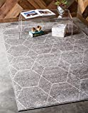 Unique Loom Trellis Frieze Collection Lattice Moroccan Geometric Modern Light Gray Area Rug (9' 0 x 12' 0)