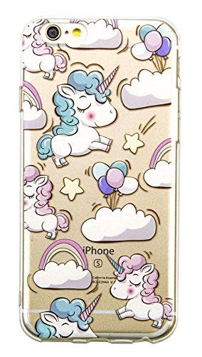 OFFLY Funda iPhone 6 / 6S, Transparente Flexible Protectora Carcasa Funda Cover Case, Patrón Creativo y Lindo para Apple iPhone 6 / 6S - Unicornio