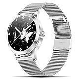 Fullmosa Smart Watch für iPhone iOS Android, Fitness-Tracker mit Voll-Touchscreen und Blutsauerstoff-Herzfrequenz-Schlafmonitor, IP68 wasserdichte Bluetooth-Armbanduhr für Damen Herren, Silber
