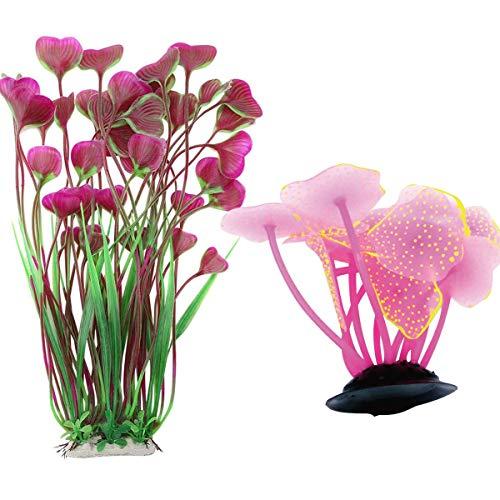 Tangger 2 PCS Wasserpflanzen Aquarium Künstlich Künstliche Koralle,Künstliche Korallen Pflanze Fluoreszenz Aquarium Dekoration Pink und Weinrot