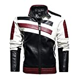 Cbyezy Stand-up collar men's motorcycle leather motorcycle racing suit color-blocking PU simulation leather jacket (Red, l)