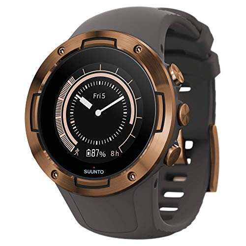 Suunto 5, Unisex-GPS-Multisportuhr für Erwachsene, Mineralglas, Edelstahl/Silikon, Grau/Kupferfarben, SS050302000