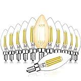 Svater 12X 4W C35 Ampoules LED Bougie Filament E14 Culot Blanc Chaud 2700K...