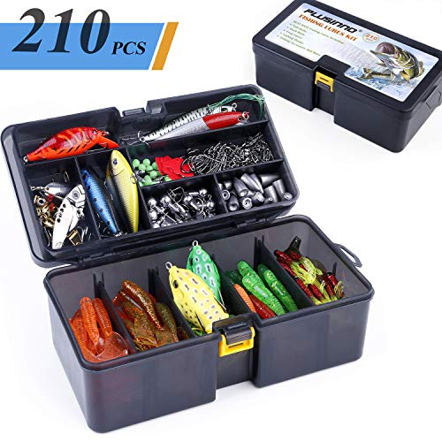 PLUSINNO Fishing Lures Baits Tackle Including Crankbaits, Spinnerbaits, Plastic Worms, Jigs, Topwater Lures, Tackle Box and More Fishing Gear Lures Kit Set, 210Pcs Fishing Lure Tackle