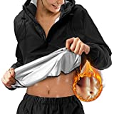 Tiktok Sauna Suit for Women Sweat Sauna Pants Weight Loss Jacket Gym Workout Vest Sweat Suits for Women (Black Tops Only, Medium)