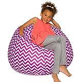 Posh Beanbags Bean Bag Chair, Large-38in, Pattern Chevron Purple and White