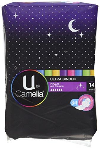 U by camelia assorbenti ultra con ali lungo Notte, Confezione da 6 (6 X 14 pezzi)