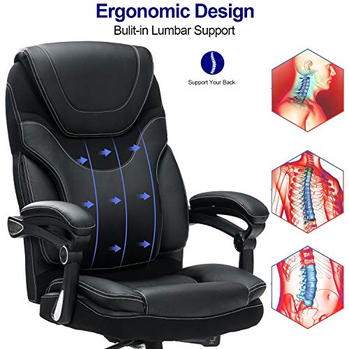 Product Image 4: KCREAM Office Chair,Adjustable Computer Chair PU Leather Swivel Task Chair Flip-up Armrests Ergonomic Desk Chair with Thick Padded Lumbar Support (9109-balck)