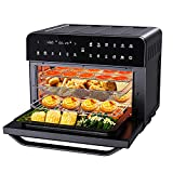 CalmDo Digital Air Fryer Oven, 26.3 Quarts Large Capacity, Oilless Convection Oven Combo, 12-in-1 Multifunction Toaster, Dehydrator & Warmer with Recipe, 5 Accessories, 1800W