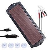Chargeur solaire 12 V pour batterie de voiture 1,8 W étanche avec pince de batterie et prise allume-cigare...