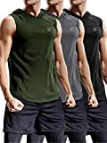 Neleus 3 Pack Workout Athletic Gym Muscle Tank Top with Hoods,5036,Black,Grey,Olive Green,US M,EU L