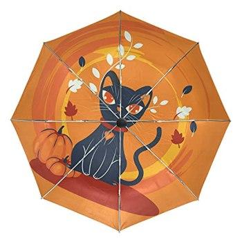 Fleur De Chat Noir Halloween Automatique Protection UV Parapluie Pliable Pliant à Ouverture Parapluies pour Voyager Plage Enfants Fille Femmes