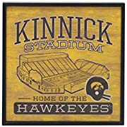 University of Iowa official product: Sing as good Hawkeyes do! Pay tribute to those special days spent cheering on the Hawkeyes at Kinnick Stadium with this must-have wall decor. Fun Vintage Sign: The classic gold and black color palette boasts a vin...