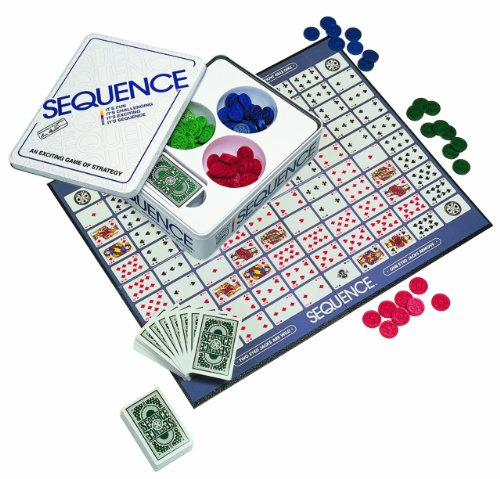 Jax SEQUENCE in a Tin - Original SEQUENCE Game with Folding Board, Cards and Chips