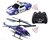 Haktoys ATS HAK329/S339 Mini 3.5 Channel Enforcement Team Police RC Helicopter and RC Car Set with Gyroscope and Flashing LED Lights   Ready to Fly and Drive   RC Hobby Toy for Kids, Teens and Adults
