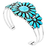 Southwest Style Genuine Turquoise 925 Sterling Silver Cluster Bracelet (Turquoise)