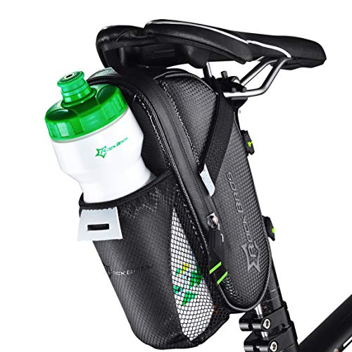 ROCKBROS 1.6L Large Bike Saddle Bags with Water Bottle Pouch Waterproof Bike Bags Under Seat Pack for Mountain Road Bicycles Storage Repair Kit Tools Gear