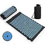 Tapis d'acupression Matelas de massage avec oreiller pour soulager les douleurs corporelles et le stress Kit (bleu/noir)