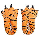 Japsom Unisex Cozy House Monster Slippers Halloween Animal Costume Paw Claw Shoes Tiger Stripe M