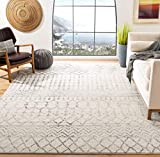Safavieh Tulum Collection TUL270A Moroccan Boho Distressed Non-Shedding Stain Resistant Living Room Bedroom Area Rug, 5'3' x 7'6', Ivory / Grey