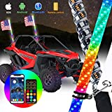 omotor 2pcs 3ft LED Whip Lights with Bluetooth and Remote Control Spiral RGB Chase Light Offroad 360°Spiraling Rising Dream Wrapped Dancing Whips