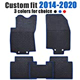 Ucaskin Car Floor Mats Custom Fit for Nissan Rogue 2014 2015 2016 2017 2018 2019 2020 Odorless Washable Rubber Anti-Slip All Weather Protection Car Floor Liner-Blue