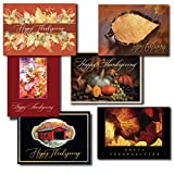 Thanksgiving Greeting Card Assortment. A Variety Box Set of 6 Different Seasonal Cards and Verses Designed and Written For Both Personal and Business Use. 25 Cards and 26 Gold Foil-Lined Envelopes