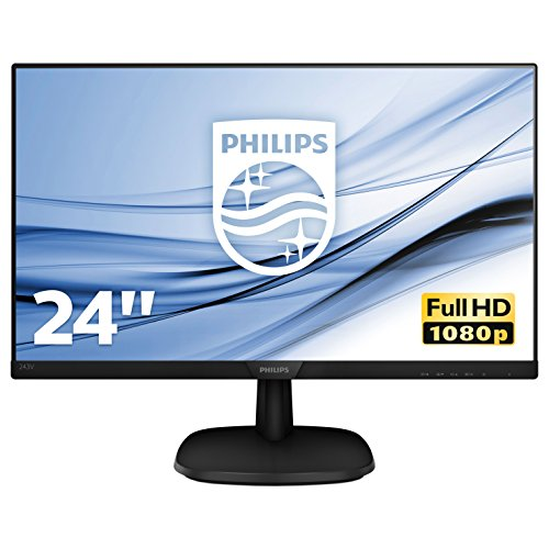 Philips 243V7QJABF Monitor 24' LED IPS FHD, 4 ms, 3 Side Frameless, Low Blue, Flicker Free, HDMI, Display Port, VGA, Casse Integrate, Attacco VESA, Nero