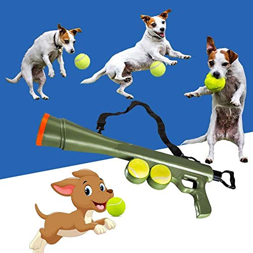 Pets Empire Dog Tennis Ball Blaster, Dog Toy Tennis Ball Launcher Gun Rated Best Dog Toy Includes 2 Balls Sports Game Thrower