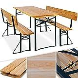 Bierzeltgarnitur mit lehne & breiter Tisch 3 teilig Gartenmöbel-Set