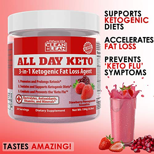 All Day Keto 3-in-1 Ketogenic Fat Loss Agent MCT Oil Extract, Organic Caffeine, prebiotic Inulin Fiber, Aquamin Aquatic Mineral Complex + Immunity Vitamins antioxidants 4