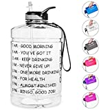 Opard Gallon Water Bottle with Time Marker Straw and Handle 128oz 1 Gallon Water Jug BPA Free Motivational Big Large Sports Water Bottle for Gym Fitness (Transparent - Small Handle)