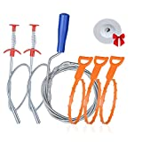 6+1 Drain Clog Remover Tool, Sink Snake Cleaner Drain Auger Sewer toilet dredge, for Drain Hair Remover Tool For Sewer, Toilet, Kitchen Sink, Bathroom Tub (Drain augers 39 in)