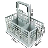 Qualtex Universal Dishwasher Cutlery Silverware Basket Holder Grey