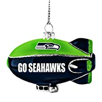 Glass Blimp Ornament Decorated with Team Name, Colors, and Glitter Measures 3-inches by 2.25-inches Easy to Hang Officially Licensed