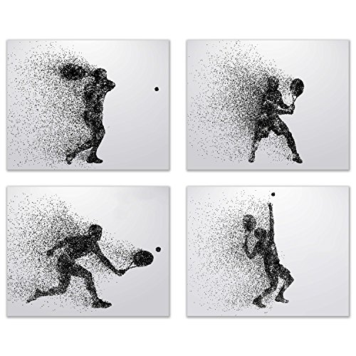 Summit Designs Tennis Wall Art Prints - Silhouette – Set of 4 (8x10) Poster Photos - Bedroom - Man Cave