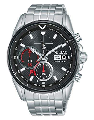 Pulsar Rally Herren-Uhr Solar Chronograph Edelstahl mit Metallband PZ6027X1
