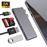 MOKAI START Hub USB C, Adaptador Tipo C Hub Slim Thunderbolt 3 de Aluminio para MacBook Pro 2019/2018/2017/2016 13'y 15', MacBook Air 2019/2018 13', 2 Puertos USB 3.0, 1 Lector de Tarjetas SD y 1 TF