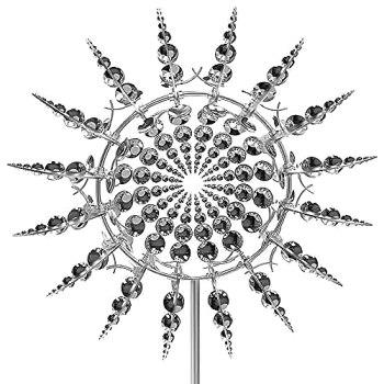 Sculpture de Jardin de Moulin à Vent en métal Unique et Magique, Décor de Jardin en métal pour Attrape-Vent extérieur, Capteur de Vent Solaire Exterieur pour pelouse Cour Jardin extérieur (A)