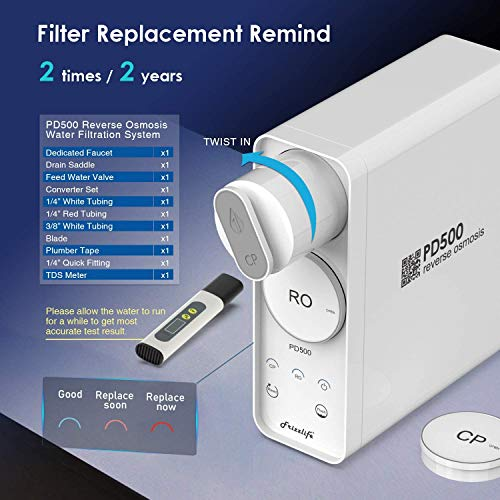 Product Image 6: Frizzlife Reverse Osmosis Water Filtration System - Tankless 500 GPD High Output RO Filter, 1.5:1 Pure to Drain, Reduces TDS, Compact Footprint, USA Tech Support, PD500