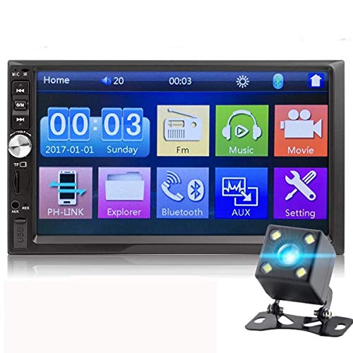 MuChangZi Autoradio FM con telecamera posteriore, touch screen HD da 7'', 2 DIN, lettore MP5, funzione Mirror Link, audio stereo, Bluetooth, TF, USB