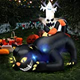 Tangkula 6 Inflatable Lighted Scared Cat, Animated Halloween Yard Prop, Giant Lawn Decoration, with LED Light, Waterproof Air Blower, for Halloween