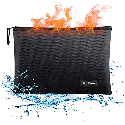 Fireproof Document Bags,15x 11 Large Waterproof and Fireproof Folder Money Bag,Fire & Water Resistant Safe Storage Pouch Envelope with Zipper for A4 Document Holder,File,Cash,Tablet,Passport,Jewelry