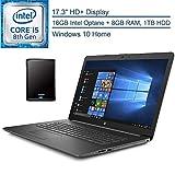 2020 HP 17 17.3' HD+ Laptop Computer, Intel Quad-Core i5-8265U Up to 3.9GHz (Beats i7-7500U), 8GB DDR4 RAM, 1TB HDD + 16GB Intel Optane, DVDRW, HDMI, Gray, Windows 10, YZAKKA 500GB External Hard Drive