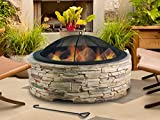 Artestia 36' Stylish Glass Reinforced Concrete (GRC) Fire Pit, Black High Heat Resistant Powder Coating Steel Bowl, Simulated Stone Base, Outdoor Wood Burning Bonfire in Front or Back Yard, Patio