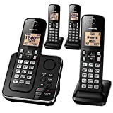 Panasonic Expandable Cordless Phone System with Answering Machine, Call Block, Intercom, Speakerphone, and Amber Backlit Display – 4 Handsets – KX-TGC364B (Black)