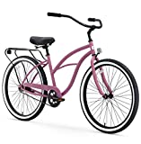 sixthreezero Around The Block Women's Beach Cruiser Bicycle, 1-speed, 26-Inch, Light Plum with Black Seat and Grips