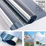 RMINE Film Miroir Fenêtre sans Tain Anti UV Anti Chaleur Protection de la Vie Privée Film Adhésif Réfléchissant pour Fenêtre Maison Bureau Magasin (ARENGET, 60_x_400_cm)